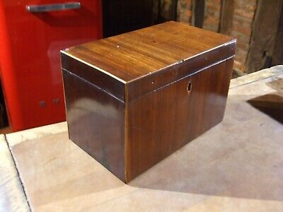ANTIQUE  19C VICTORIAN SMALL CADDY nice original used condition 2 partitions