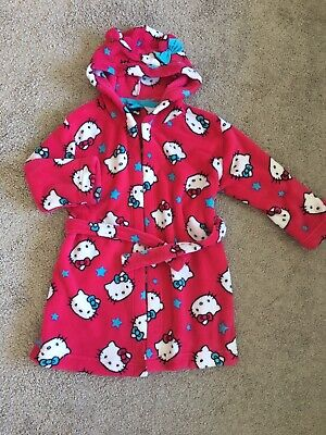 Girls Hello Kitty Pink Dressing Gown Robe 5-6 Yrs