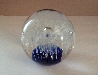 Paperweight Art Glass Cobalt Blue Base and White Flower with Controlled Bubbles