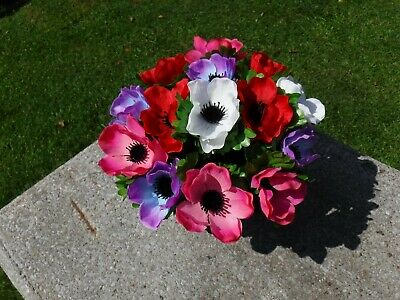 Artificial Silk Flower Arrangement Grave Crem Pot Vase Tribute Memorial
