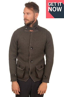 RRP €335 JEORDIE'S Knitted Jacket Size M Alpaca Wool Blend Partly Sherpa Lined