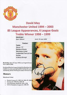 David May Manchester United 1994-03 Original Autographed Official Club Postcard