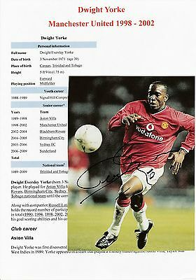 Dwight Yorke Manchester United 1998-2002 Original Autographed Magazine Picture