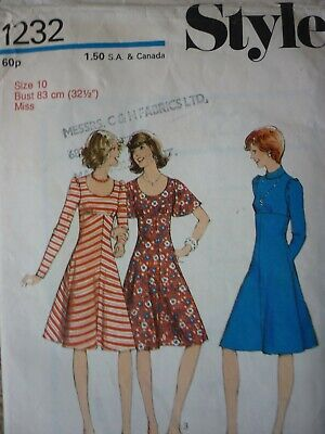 Vintage 1970'S Style Fit & Flare Dress Sewing Dressmaking Pattern
