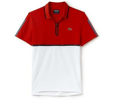 BNWT AUTHENTIC LACOSTE SPORT TENNIS POLO SHIRT Size 7 - 2XL DH2067 RED/WHITE
