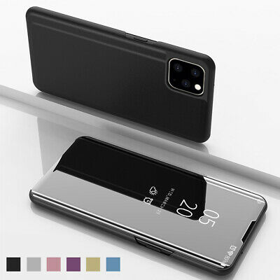 For iPhone 11 /11 Pro Max Flip Leather Mirror View Case Plating PC Stand Cover