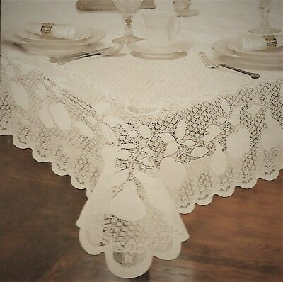 Fine Lace Beige Apples Pears Fruit Fabric Tablecloth 60x104