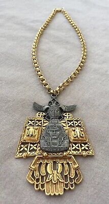 signed ART vintage egyptian revival pendant necklace gold large rare scarab