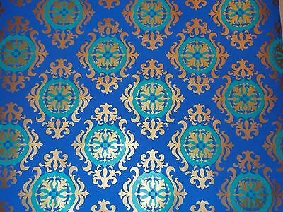 "Vtg Hallmark Usa Hollywood Regency Mcm Wrapping Paper Gift Wrap Sheet 30"" X 20"""