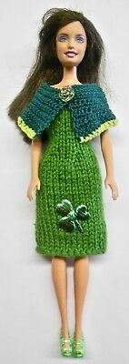 For Barbie Doll St. Patrick's Day Dress with Removable Collar and Shoes