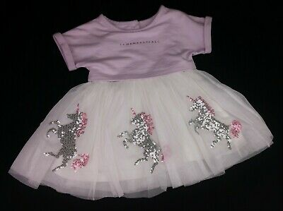 Baby Girls Clothes RIVER ISLAND Sequin Unicorn Layered Dress 0-3 Months BNWoT