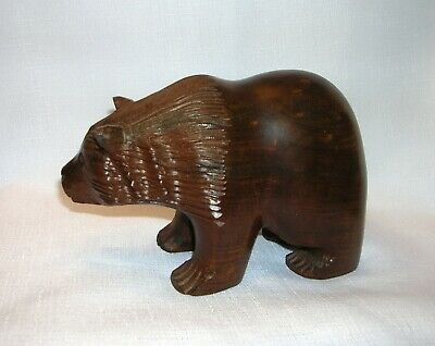 Hand Carved Solid Wood Black Forest Grizzly