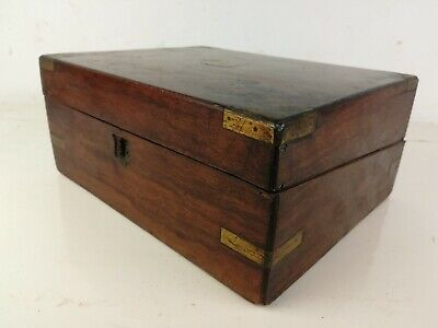 Antique writing slope Storage Wood chest brass old for restoration