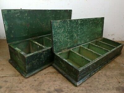 2 Vintage dovetailed storage boxes industrial green pine Carpenters compartments