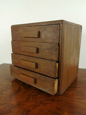 Small bank of drawers collectors chest hand made wooden vintage old