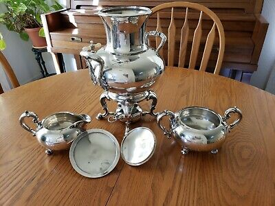 Antique Reed & Barton Silver-Plated Samovar with Warmer and Cream/Cvrd Sugar