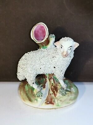 Antique 19th STAFFORDSHIRE Figurine Sheep Lamb Ram Figural Spill Vase ENGLAND