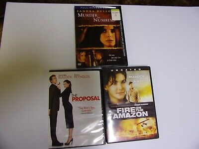 Sandra Bullock- The Proposal/ Murder By Numbers/ Fire In The Amazon Dvd Lot Of 3
