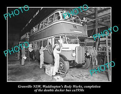 OLD LARGE HISTORIC PHOTO OF WADDINGTONS BODY WORKS GRANVILLE NSW BUS 1950s