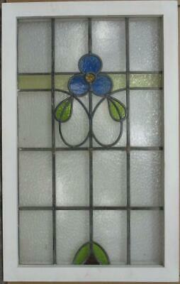 "MIDSIZE OLD ENGLISH LEADED STAINED GLASS WINDOW Gorgeous Floral 21.25"" x 34"""