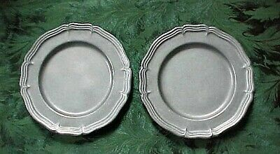 "Vtg The Wilton Co. Armetale Pewter 2 Salad Plates 9"" Country French"