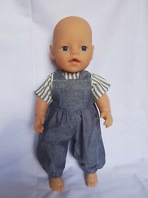 Handmade dolls clothes (Summer overalls,top set) fit 33cm Little Baby Born