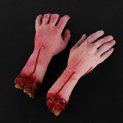NEW-Halloween Realistic Hand Terror Bloody Fake Body Parts Severed Arm Hand Prop
