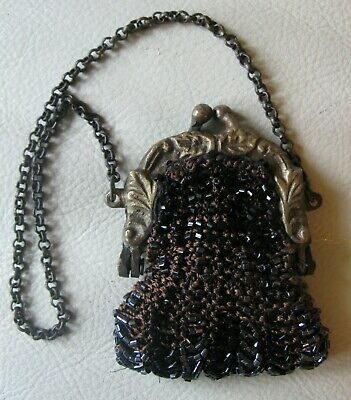 Antique Silver Brass Frame Brown Crochet Black Bead French Doll Coin Child Purse