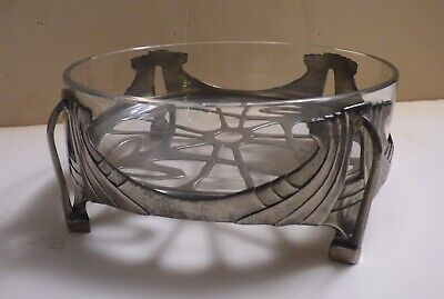 Rare OSIRIS Isis 869 PEWTER & GLASS ART NOUVEAU BOWL Peter Behrens arts Crafts
