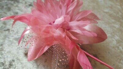 Dusky Pink Flower and Feather Hair Comb Fascinator hairpiece With Net Detail
