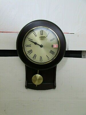 Vintage Metamec 1970's Hallway Wall Clock, New Old Stock, Deep Mahogany, Quartz