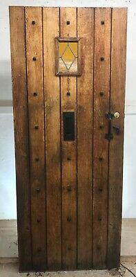 Solid Oak Stained Glass Front Door Antique Period Old Reclaimed Lead Wood Iron P