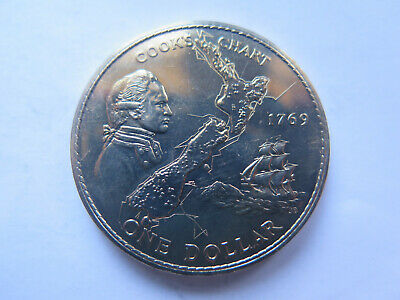 NEW ZEALAND 1969 COOKS VOYAGE 1769 to 1969 DOLLAR COIN CROWN SIZE UNCIRCULATED
