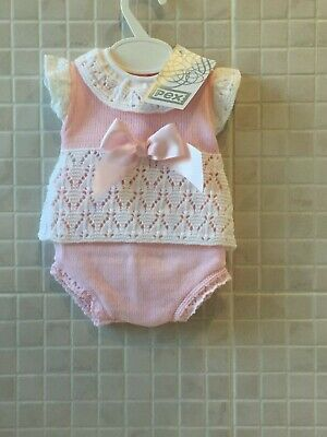 Baby Girls Knitted Spanish Romany Style 2 piece set Jam pants Pink 0-3 -9-12 m