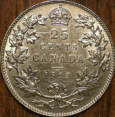 1913 CANADA SILVER 25 CENTS QUARTER COIN - Uncirculated details (cleaned)