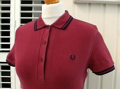 Fred Perry Women's Maroon/Navy Twin Tipped Polo - UK 10/ EUR 38/ USA 6/ JAPAN 11