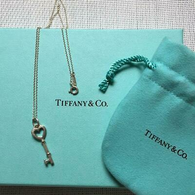 Tiffany & Co. Authentic Heart Key Sterling Silver 925 Pendant Necklace RARE