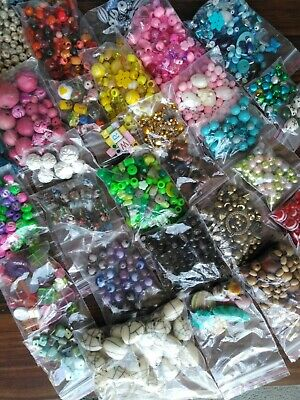 Selections of beads for necklaces or bracelets, arts and crafts projects