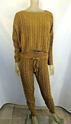 Cable Knit Lounge Co-Ord Set Mustard Size 12/14 Cropped Jumper Knitted Leggings