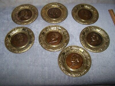 Lot Of 7 Vintage Classical Music Composer Brass Metal Wall Decor Plates England