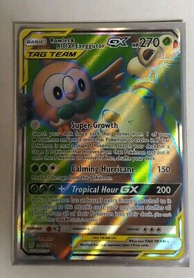 Pokemon TCG Sun and Moon Unified Minds Rowlet and Alolan Exeguttor GX 214/236