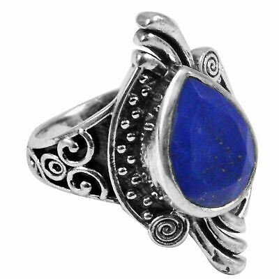 Faceted-Lapis Lazuli Solid 925 Sterling Silver Ring  Jewelry Size-8.5 AR-568