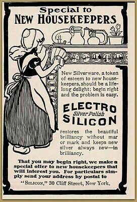 1905 a Electro Silicon Cleaner Little Dutch Girl Delft Tiles Fireplace Print Ad