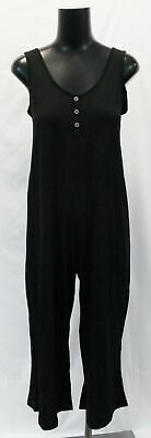 New Look Women's Maternity Button Front Jersey Jumpsuit SV3 Black US:4 UK:8 NWT