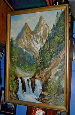 HUGE Mountain Waterfall Stream Oil Painting Impasto Pallette Knife Original Art!