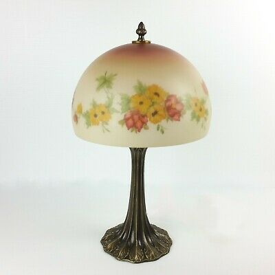 """Vtg Reverse Painted Lamp Glass Dome Floral Hand Painted Yellow Flowers 20.5"""""""