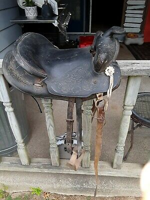 Antique Children's Leather Western Pony Saddle Riding Horse 12 inch