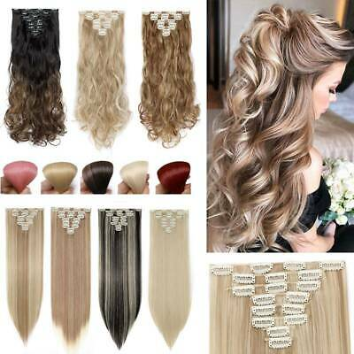 On CLEARANCE 100% REAL Clip in Hair Extension Curly Straight As Human Hairpiece