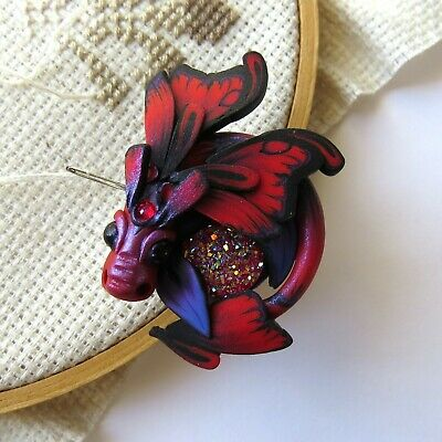 Red Dragon Magnetic Needle Minder by Claybykim
