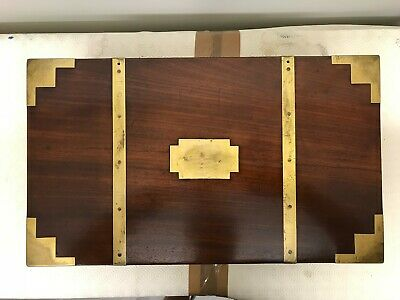 Antique Peninsular War George III Mahogany Heavy Military Campaign Writing Chest